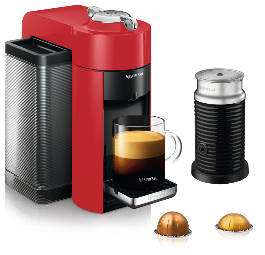 Picture of red Nespresso coffee machine and milk frother.